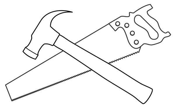 Saw and kid cricut. Hammer clipart drawing