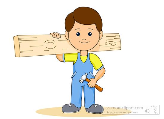 Child clipart construction. Carpenter working