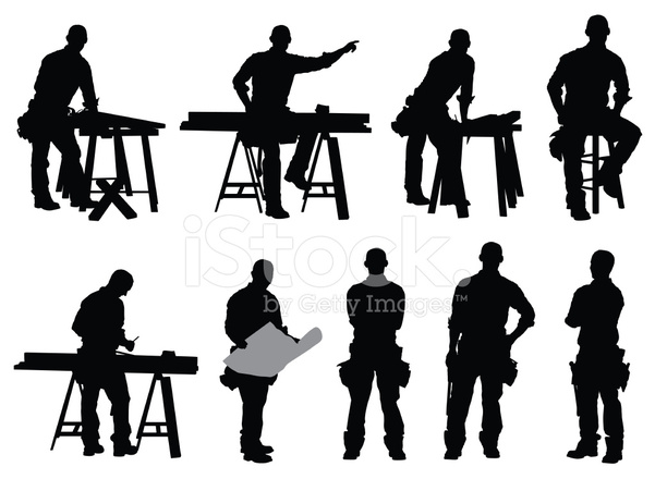 Multiple images of a. Carpenter clipart silhouette