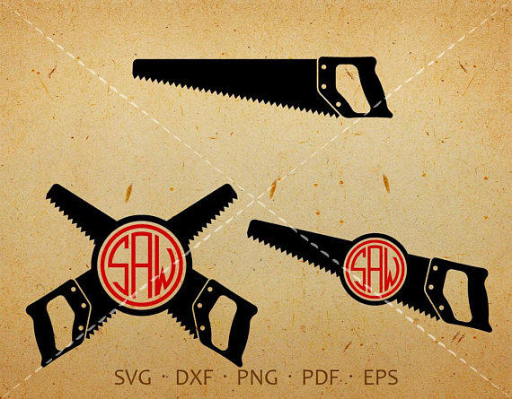 Carpenter clipart silhouette. Saw svg monogram with