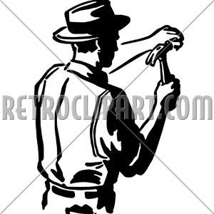 Hammering nail retroclipart com. Carpenter clipart silhouette