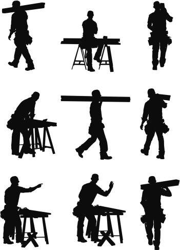 Carpenter clipart silhouette. Vectores libres de derechos