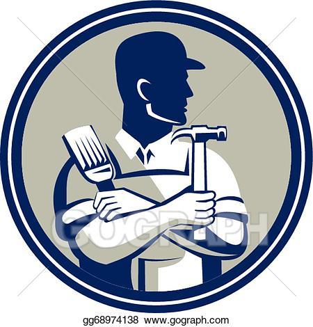 Vector art carpenter painter. Carpentry clipart hammer saw