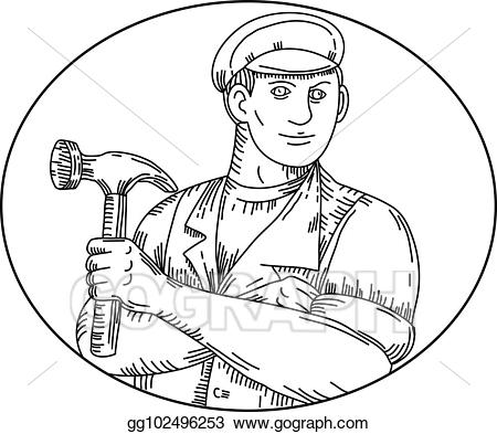 Handyman clipart vintage. Eps illustration carpenter hammer