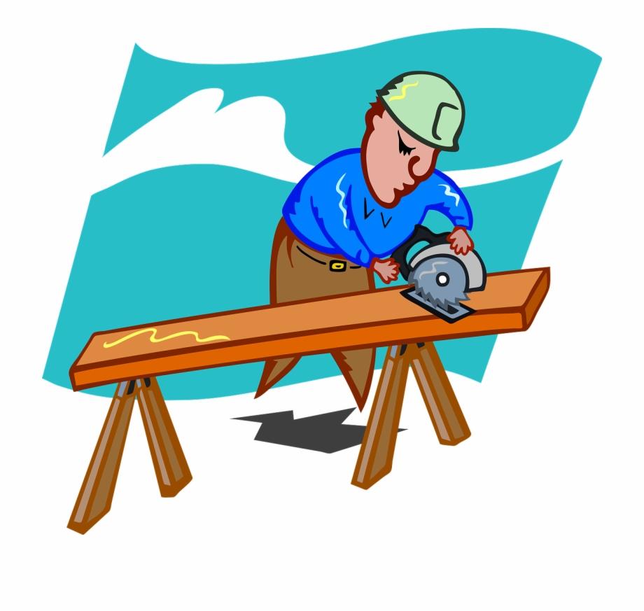 Craftsmen schreiner saw wood. Carpenter clipart woodworking