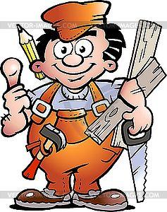 Handyman carpenter vector clip. Carpentry clipart