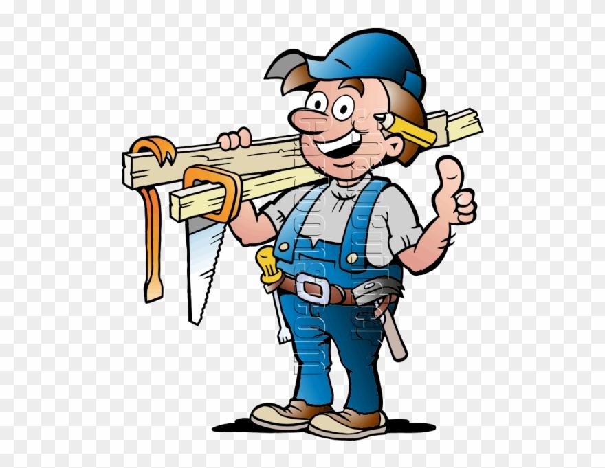 Carpentry clipart. Handyman with tools cartoon