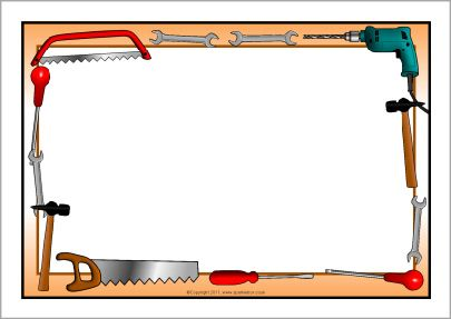 Tools themed a page. Carpentry clipart border