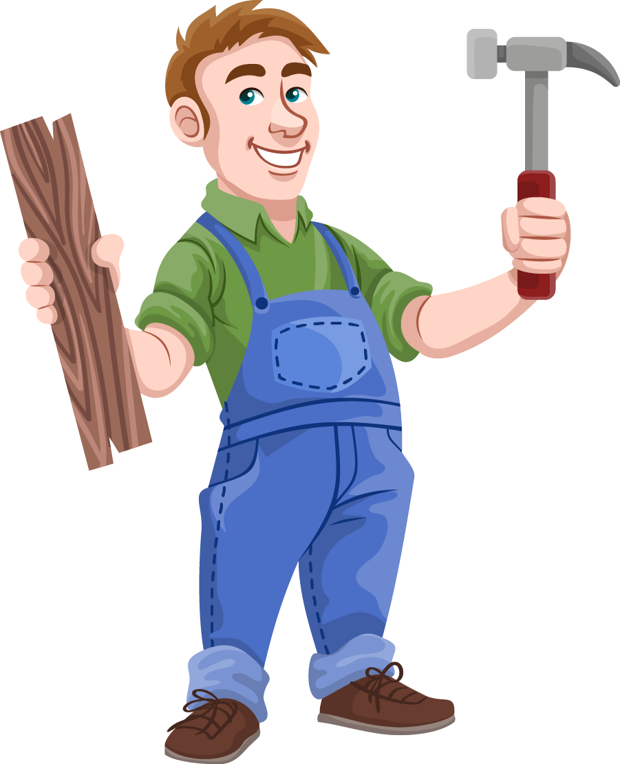 Man carpenter pencil and. Clipart hammer solid