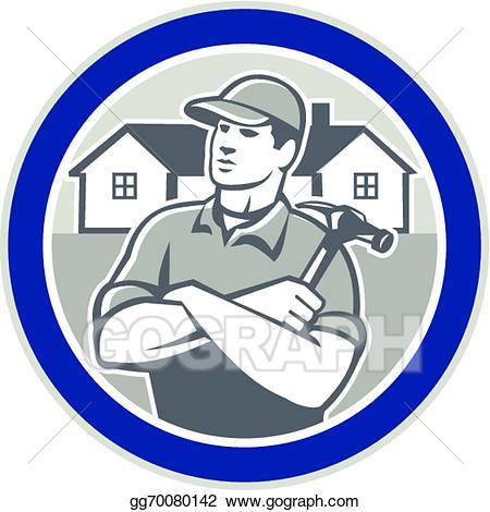 Carpentry clipart builder. Vector carpenter hammer houses