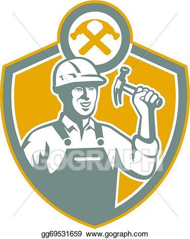 Vector carpenter hammer shield. Carpentry clipart builder