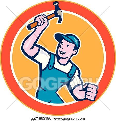 Carpentry clipart builder. Vector stock carpenter holding