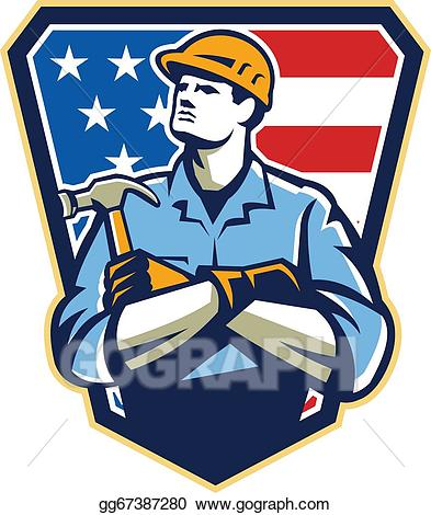 Vector american carpenter hammer. Carpentry clipart builder