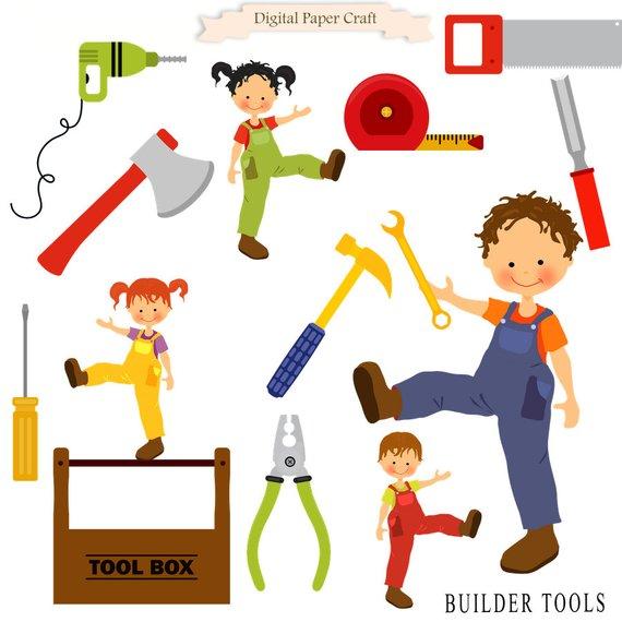 Carpentry clipart builder. Building tools workman tool
