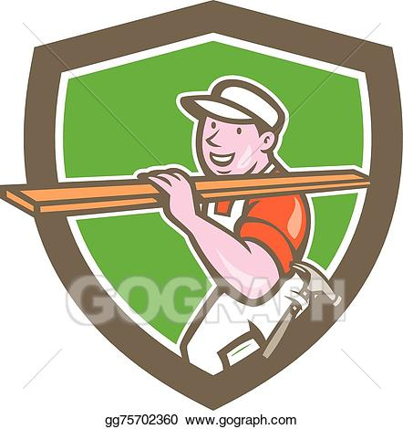 Carpentry clipart builder. Vector carpenter carrying timber