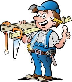 Janitor clipart. Carpenter or handyman illustration