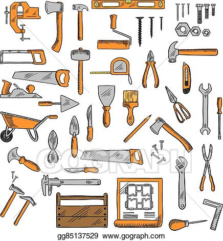 Vector sketched tools for. Carpentry clipart carpenter tool