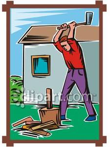A man chopping royalty. Carpentry clipart chop wood