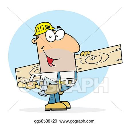 Carpentry clipart chop wood. Eps illustration caucasian worker