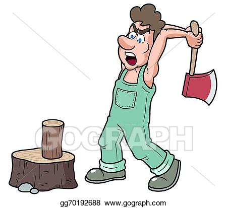 Eps illustration man chopping. Carpentry clipart chop wood
