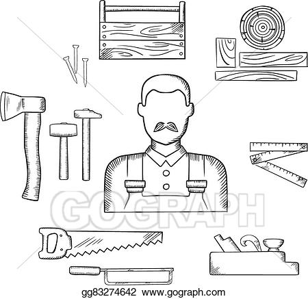 Carpentry clipart design technology tool. Vector illustration carpenter with
