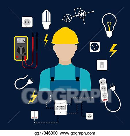 Vector professional electrician with. Carpentry clipart design technology tool