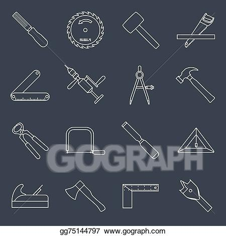 Eps vector tools icons. Carpentry clipart equipment