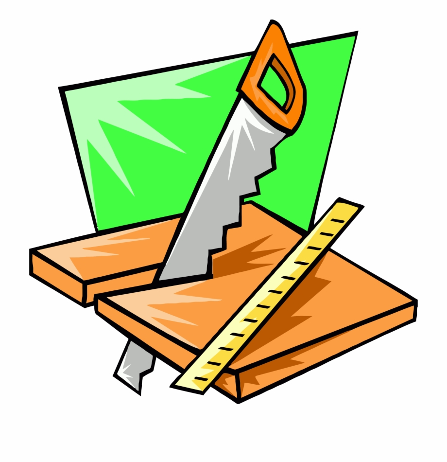 Saw wood working carpenter. Carpentry clipart equipment
