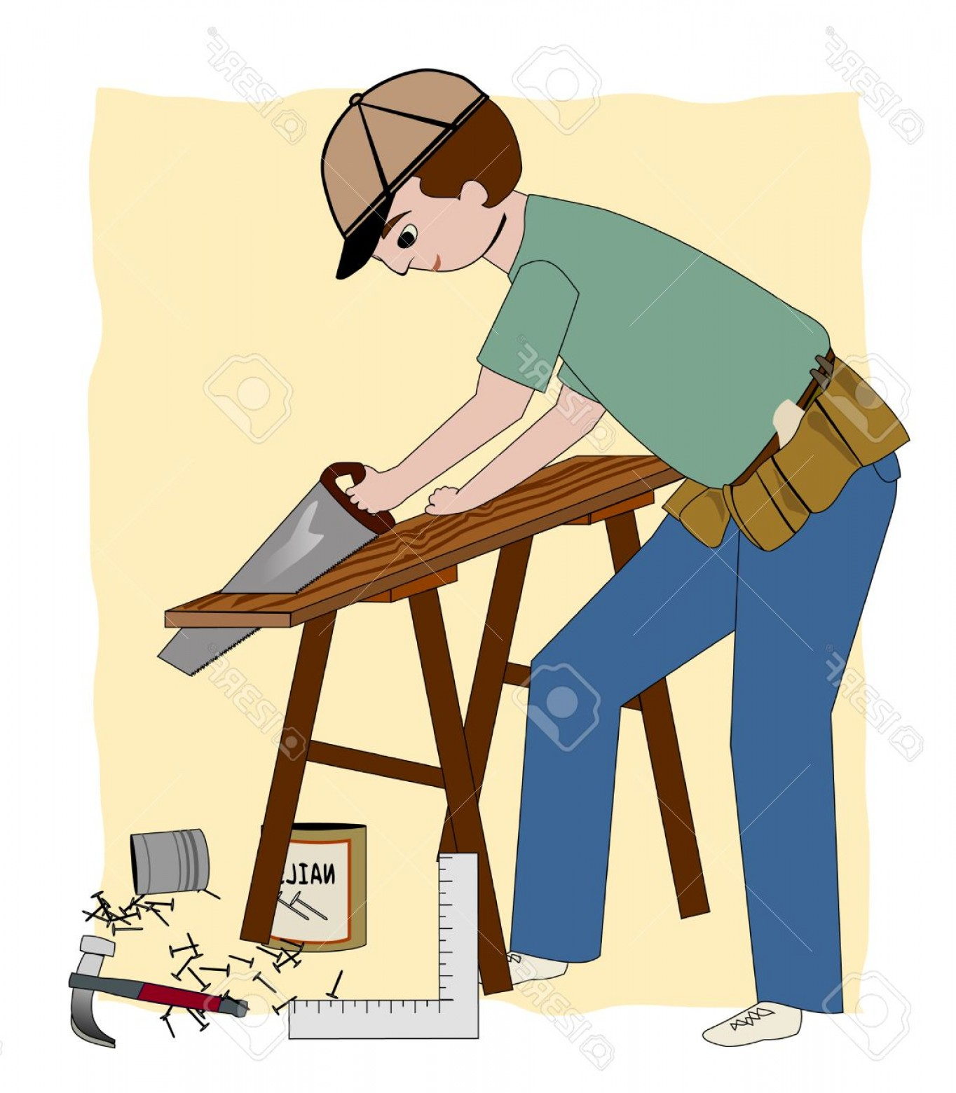 Photoa working carpenter builder. Carpentry clipart general contractor