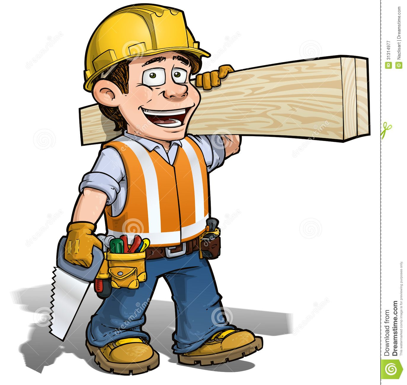 Carpentry clipart general contractor. Cartoon construction worker character