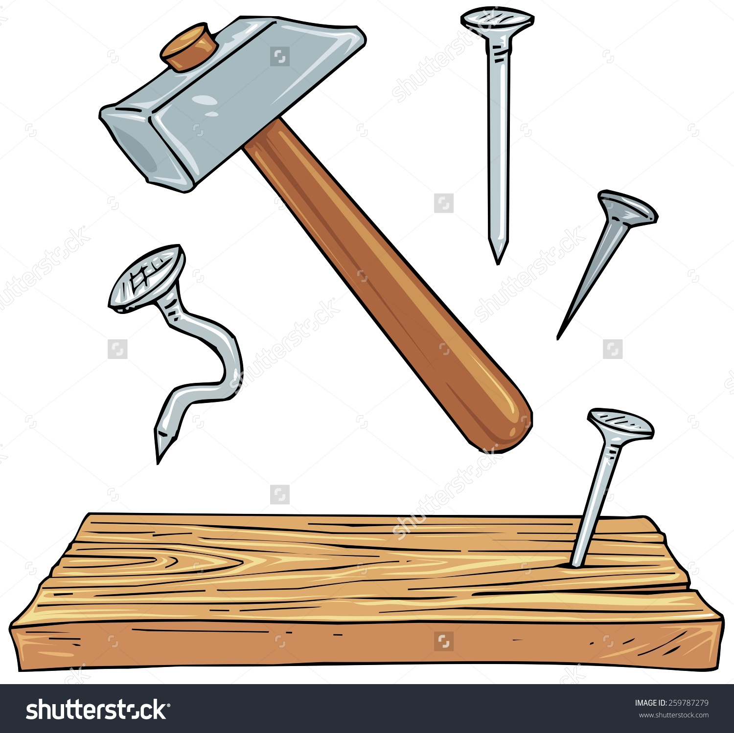Nails carpenter tool pencil. Clipart hammer woodworking