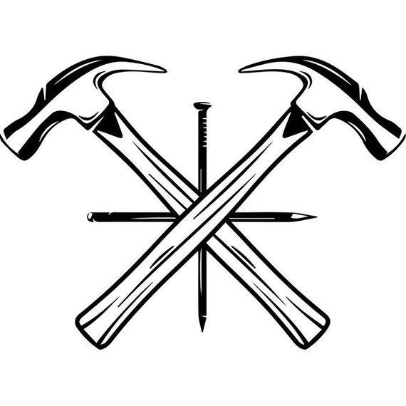Carpentry clipart hammer nail. Woodworking logo crossed carpenter