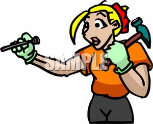 A woman with and. Carpentry clipart hammer nail