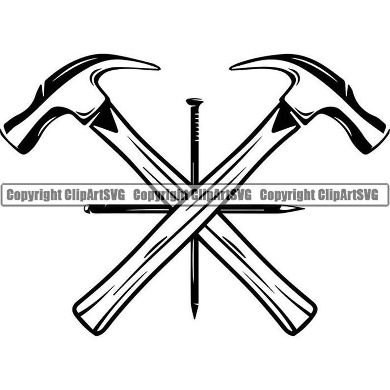 Hammer clipart woodworking. Logo nail crossed carpenter