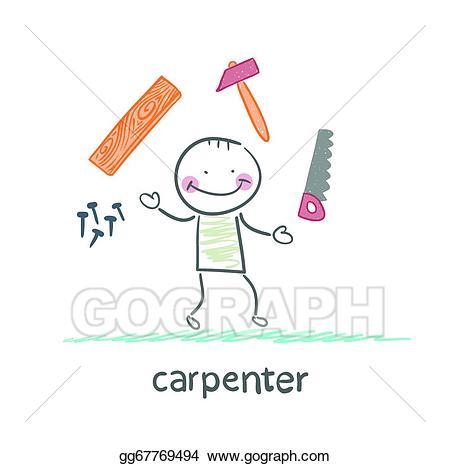 Carpentry clipart hammer nail. Vector illustration around carpenter