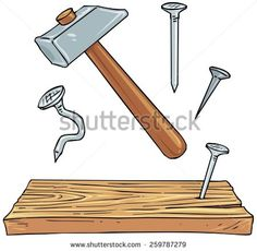 Carpentry clipart hammer nail.  doodle style tools