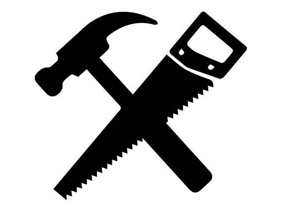 Carpentry clipart hammer saw. Hand tools repair fix
