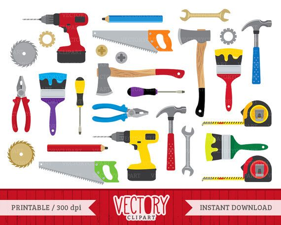 Carpentry clipart hardware tool. Tools set construction clip