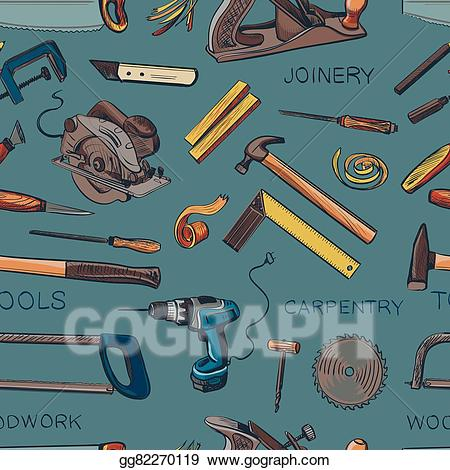 Vector pattern from various. Carpentry clipart joinery tool