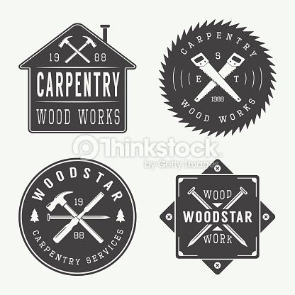 Carpentry clipart logo. Vector art set of