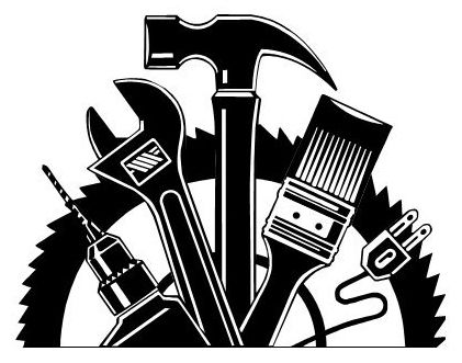 Contractor clipart kitchen remodel. Handyman black and white