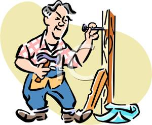 Carpentry clipart maintenance man. A colorful cartoon of