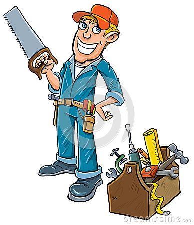 Cartoon handyman with toolbox. Carpentry clipart maintenance man