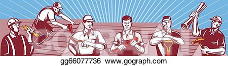 Carpentry clipart masonry. Eps vector contruction workers