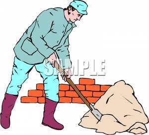 Carpentry clipart masonry. Mason shoveling mortar royalty