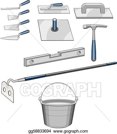 Eps vector bricklayer tools. Carpentry clipart masonry