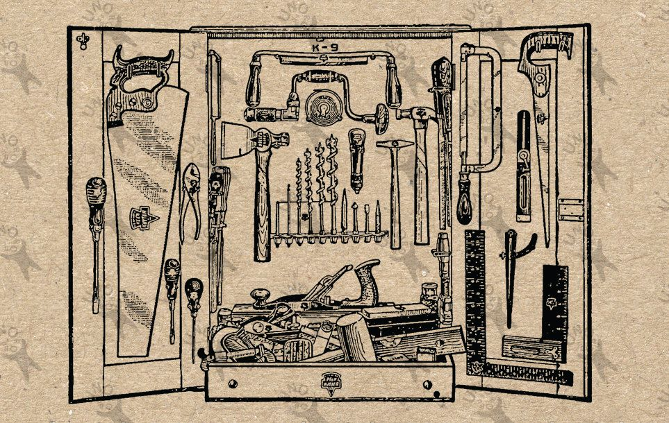 Carpentry clipart vintage. Image tools instant download