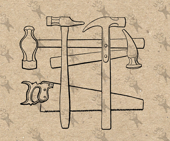 Image hammer saw tools. Carpentry clipart vintage