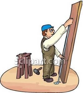 Carpentry clipart wood tech. Handyman using measuring tape