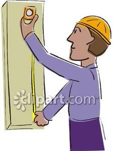 A man measuring piece. Carpentry clipart wood tech